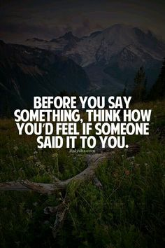 Think before you speak...think twice before you act! Remember in life every action has a reaction!