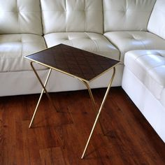 60s Vintage HOLLYWOOD REGENCY Folding TV Tray Table / Metal Legs Mid  Century Serving Occasional Accent Furniture Geometric Faux Bois Wood
