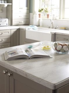 Vintage inspired kitchen with Corian® Sea Salt from the Martha Stewart Living™ Collection countertops