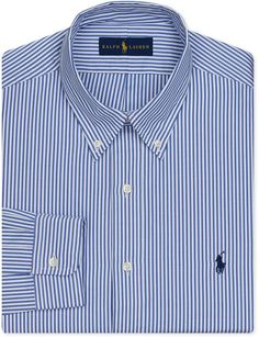 Polo Ralph Lauren Pinpoint Oxford Blue Stripe Dress Shirt