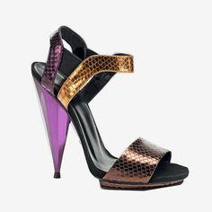 Sandales python brillant, Gucci