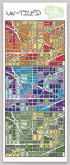 """Julia Lovett loves maps. So when the LivingSocial employee had to produce a vector image project for her digital art class at Georgetown last year, she studied grids of downtown DC; found the most visually appealing stretch of circles, green spaces, and symmetry; and drew inspiration from a watercolor artist she admires at Eastern Market. The result is this Adobe Illustrator rendering of downtown DC that she calls """"Un-Tiled."""""""