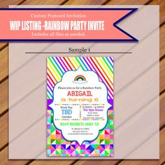 This listing is for Mindy. This is the first sample of the Rainbow Party…