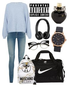 """Blue + black"" by therealexandra on Polyvore featuring Yves Saint Laurent, Rodebjer, Beats by Dr. Dre, NIKE, Moschino, Marc Jacobs and Aéropostale"