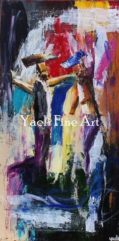 Two chassidim dancing, colorful painting.