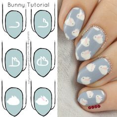 Nail Art Tutorial: BunniesQuick little tutorial for my Easter Bunny design so that you too can have fluffy bunnies on your nails! Funky Nail Art, Trendy Nail Art, Cute Nail Art, Nail Art Diy, Diy Nails, Manicure, Ongles Funky, Nail Art Designs, Easter Nail Designs