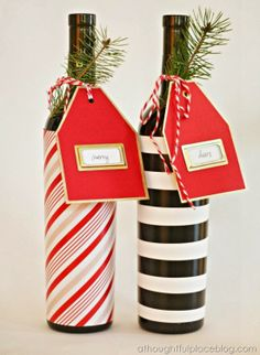 Gift Tags and Easy Hostess Gifts...wrapping paper + gold-edged tags with adhesive bookplates. LOOOOVE!!