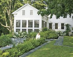 After- Restored Connecticut Home With White Garden and White Siding, Nancy Fishelson