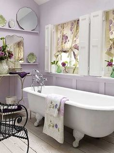 Take a soak in this soft, feminine, lavender bathroom