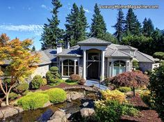 Lake Oswego Masterpiece #luxury #homes #house #front #yard #design #landscape #landscaping #plants #door #architecture #entrance #entry