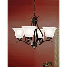 @Overstock - Brighten your home decor with an elegant chandelier  Lighting fixture showcases a bronze ironwood finish  Chandelier features white shades  http://www.overstock.com/Home-Garden/Bronze-Ironwood-4-light-Iron-Chandelier/4046636/product.html?CID=214117 $142.49