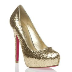 signature pink sole gold sparkle pump heel shoes nwt size 6 1/2