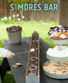 Garden party - Perfect Summer DIY for a S'mores bar on your backyard table! This is the perfect summer party show-stopper and the tabletop roasting is safer for little kids, than a fire pit. Grad Parties, Summer Parties, Camping Parties, Summer Bash, Bachelorette Parties, Teen Parties, Picnic Parties, Bachelor Parties, Graduation Party Decor