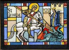 Dragons as symbols in warfare religion & art history - Stained Glass Windows Saint George And The Dragon, Dragon Slayer, Stained Glass Windows, Warfare, Art History, Dragons, Religion, Rule Britannia, Symbols