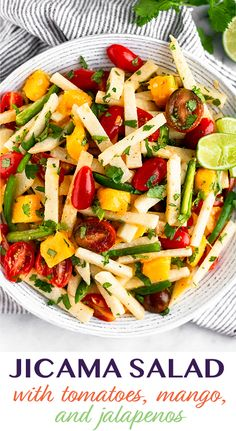 Tomato Jicama Salad with Mango & Jalapeños - Eat the Gains Mango Recipes, Slaw Recipes, Raw Food Recipes, Cooking Recipes, Summer Recipes, Keto Recipes, Healthy Vegetable Recipes, Vegetable Salad, Healthy Salad Recipes