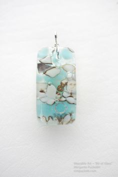 Cool Brook - Fused Pendant with Vanilla Glass and Turquoise detailed with Fine Silver