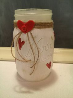 Mason Jar Vase with Red Glitter Hearts Twine Felt Glitter Recycled Mason Jar Valentine Flower holder