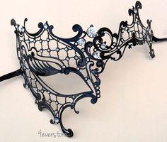 Masquerade Ball Masks | ... Phantom Filigree Metal Venetian Masquerade Mask - Swarovski Crystal