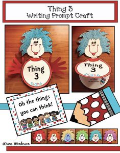 "Off Seuss Inspired ""Thing Writing Prompt Craft Writing Prompts For Writers, Picture Writing Prompts, Writing A Book, 5 Senses Activities, Kindergarten Drawing, Cute Bulletin Boards, Getting To Know You, Poem, Thing 1"