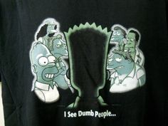 Simpson Tee Shirt I See Dumb People Bart Homer Barney Apu More Large 2001  Blac #Simpsons #EmbellishedTee