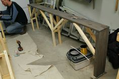 """DIY sofa table -- 8"""" wide to fit between couch & wall."""