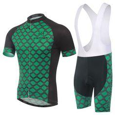 Men's Green Short Sleeve Cycling Jersey Set #Cycling #CyclingGear #CyclingJersey #CyclingJerseySet