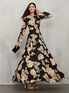 The Amalia Dress. Perfect for fall weddings or just fall. This is a full length georgette gown with a keyhole neckline with button closure. Pretty Patterns, Fashion Prints, Casual Looks, Fashion Dresses, Fashion Looks, Stylists, Style Inspiration, Gowns, Wedding Dresses