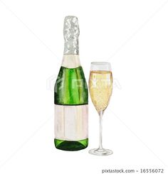 Champagne bottle and champagne glass. watercolor painting on white background