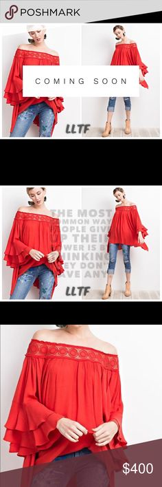Dramatic Off the Shoulder Tunic- CRIMSON Extremely dramatic ruffled off the shoulder tunic featuring:  Lace detailing along chest Loose fit  100% Rayon Tops Tunics