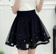 2018 New Spring Summer Women Black Mini Skirt Korean Elastic High Waist Skirt Shorts Sweet Mesh Tulle Umbrella Skirt Falda Tul(China)