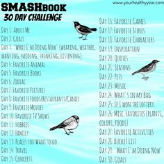 Smash book challenge, 30 topics in 30 days. Perfect for those just starting out, or veteran smash bookers who need some new ideas and challenges. Smash Book Challenge, 30 Day Challenge, Challenge Ideas, Journal Challenge, Writing Challenge, Wreck This Journal, Book Journal, Journal Ideas Smash Book, Journal Cards