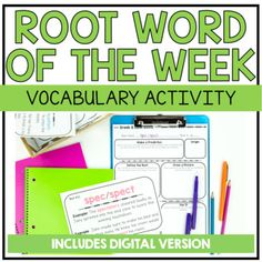 Vocabulary Strategies, Vocabulary Instruction, Writing Strategies, Spelling Activities, Vocabulary Activities, Listening Activities, Latin Root Words, Reading Notebooks, Learn Greek