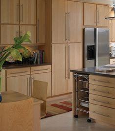 Natural finish wood cabinets