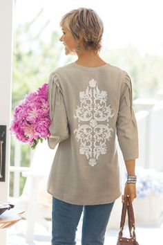 Gayla Gauze Shirt - Gauze Blouse, Embroidered Gauze Top, Cotton Gauze Shirt | Soft Surroundings