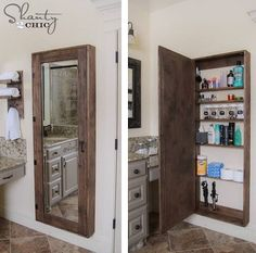 Oooooo, I LOVE, LOVE, LOVE This Idea...DIY Bathroom Mirror Storage Case...I Love This Idea...Storage & A Full Length Mirror...Click On Picture To Link For DIY Project...