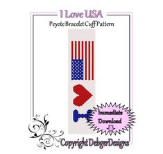 Bead Pattern Peyote(Bracelet Cuff)-I love USA