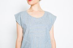 Railroad Circle Blouse  Blue and White by sarabergman on Etsy, $58.00