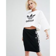 adidas Originals Bonded Lace Crop Sweatshirt With Trefoil Logo ($62) ❤ liked on Polyvore featuring tops, hoodies, sweatshirts, white, oversized crew neck sweatshirt, crew-neck sweatshirts, lace crop top, white crewneck sweatshirt and lace sweatshirt