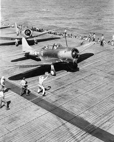 Douglas SBD-5's of VB-5 on USS Yorktown CV-10 prior to launching on a strike Wake Island.