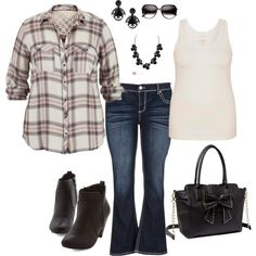 casual cute. plaid button down shirt with a tank underneath, flare jeans, ankle boots, leather bag, necklace, earrings and sunglasses. simple and easy all in pl...