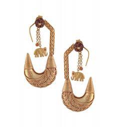Silver Rudraksh Elephant Earrings