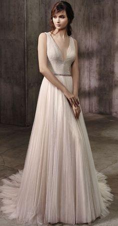 Deep V Neckline Ivory Blush Tulle Skirt Wedding Dress via Badgley Mischkahttp://www.himisspuff.com/top-100-wedding-dresses-2017-from-top-designers/5/