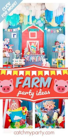 Just like with safari parties, kids can't seem to resist adorable farm animals, making farm-themed parties a trend that just keeps growing and growing. If 2019 is anything to go by you can bet 2020 is going to be a big farm birthday party year too. See more party ideas and share yours at CatchMyParty.com Prince Birthday Party, Farm Birthday, Boy Birthday Parties, Parties Kids, Birthday Ideas, Farm Themed Party, Safari Party, Themed Parties, Farm Animal Party