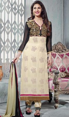 Create an enigmatic aura around wherever you go draped in this black and cream georgette churidar suit. The floral patch, lace and resham work seems chic and great for any party. #BlackAndCreamGeorgetteChuridarSuit