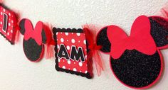 Red Minnie Mouse I am 1 High Chair Banner by CelebrationBanner, $15.00
