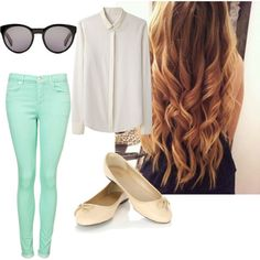 Cute Outfits for Middle School | this is a simple and cute look: pastel pant and olat with a simple ...