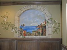 Mediterranean scene in hallway mural