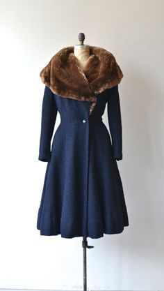 Blue wool fur collar 1940s coat