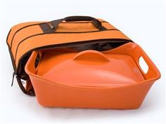 Rachael Ray Stoneware Covered Baker with Bonus Insulated Carrier: Orange at Rachael Ray Store