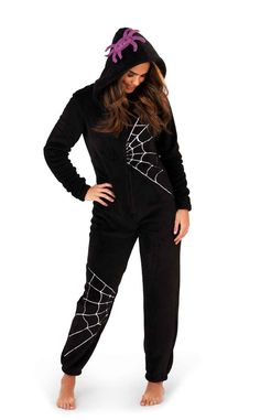 Kawaii Angel Spider Web Onesie     Another awesome onesie from Kawaii Angel! This super soft black fleece onesie features an embroidered white spider web design on the body, as well as a super cute fang...